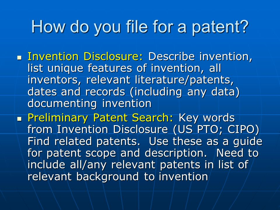 How do you file for a patent