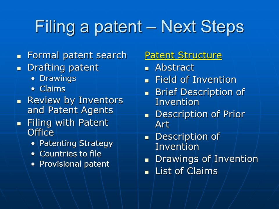 Filing a patent – Next Steps