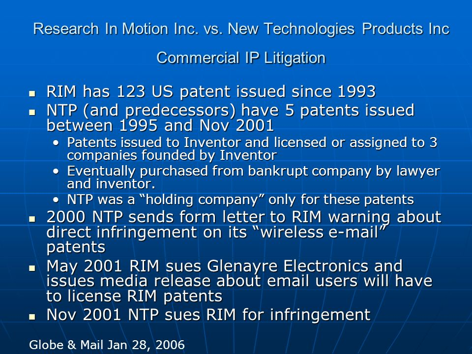 RIM has 123 US patent issued since 1993