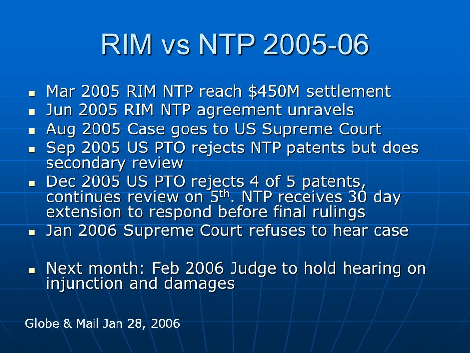 RIM vs NTP 2005-06 Mar 2005 RIM NTP reach $450M settlement