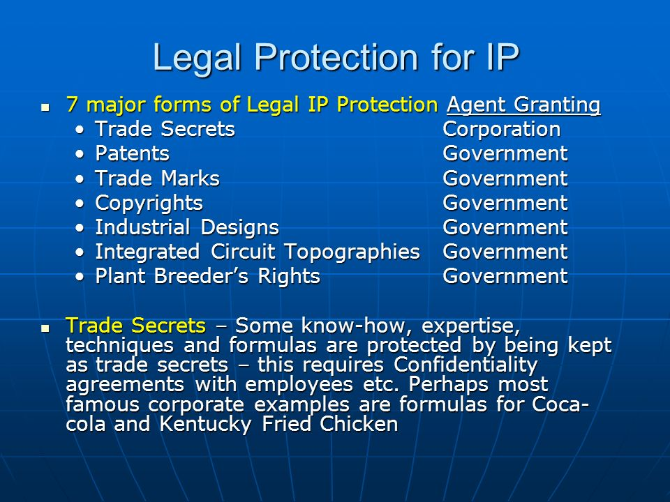 Legal Protection for IP