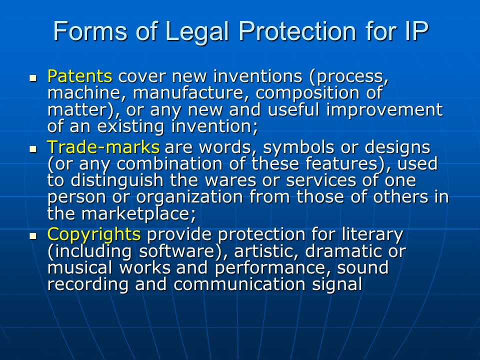 Forms of Legal Protection for IP