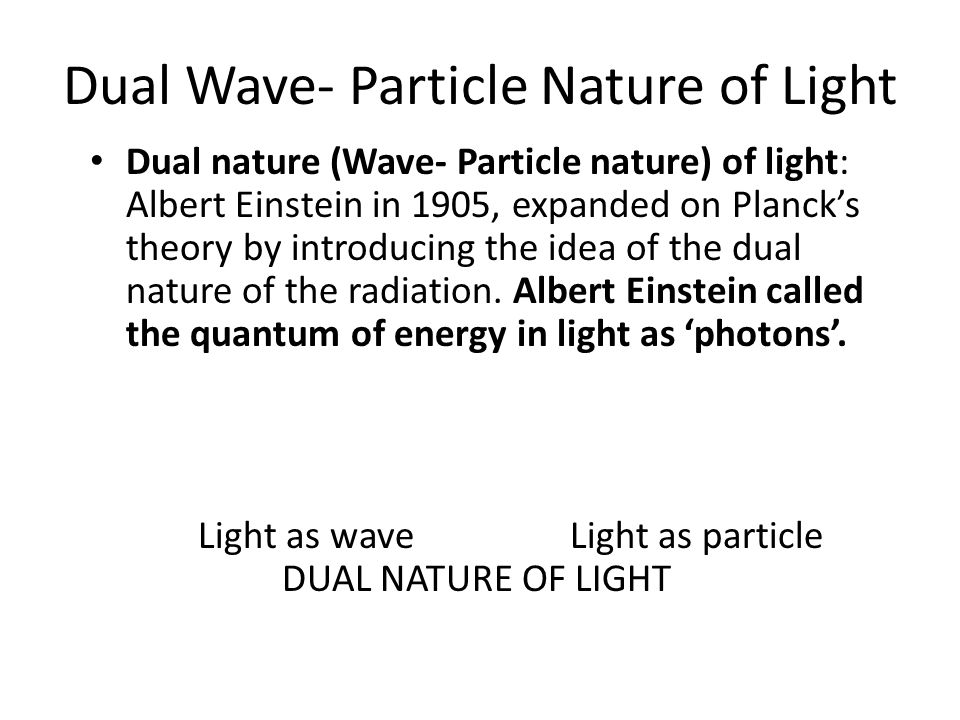 Dual Wave- Particle Nature of Light