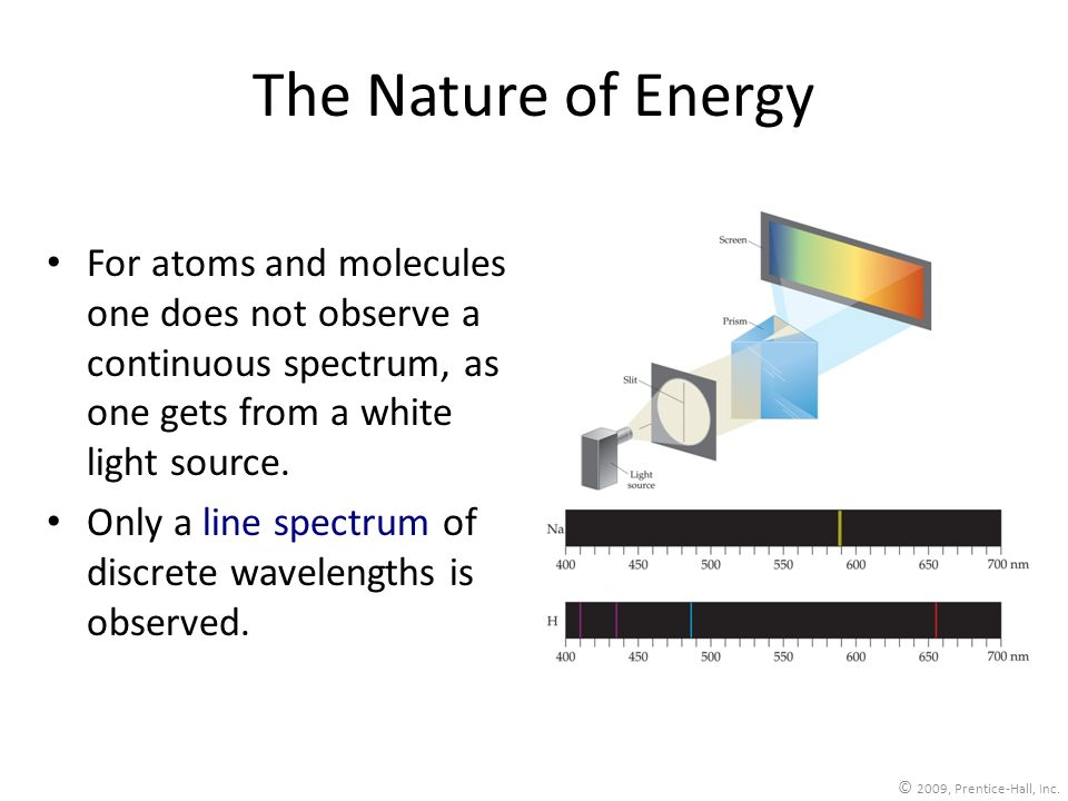 The Nature of Energy For atoms and molecules one does not observe a continuous spectrum, as one gets from a white light source.
