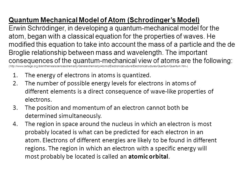 Quantum Mechanical Model of Atom (Schrodinger's Model)