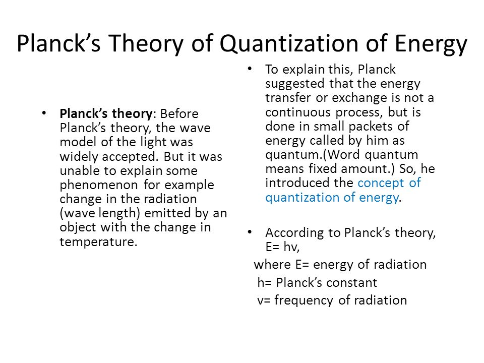 Planck's Theory of Quantization of Energy