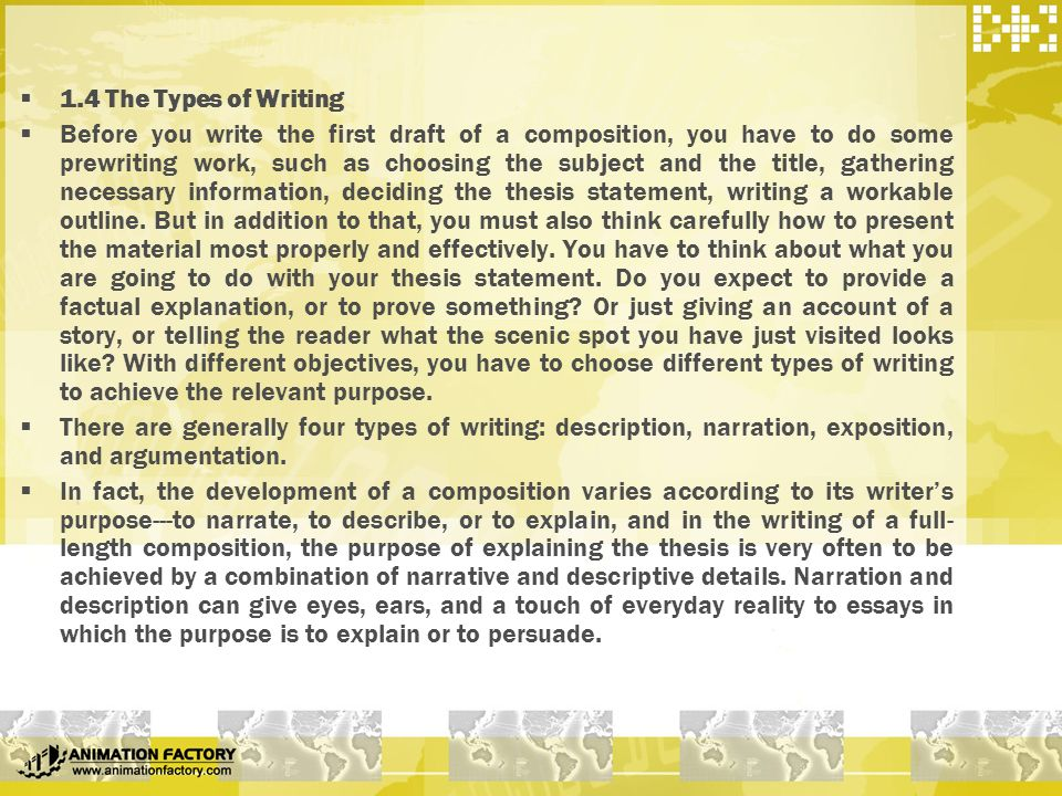 types of composition writing Writing can come in many different forms different types of writing: the many forms writing can take may 28, 2014 by natasha quinonez writing is everywhere.