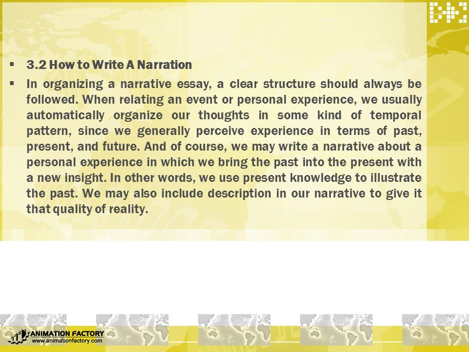 how to write a narration and description essay • use description of all five senses to make your writing come alive • create a meaningful conflict to drive your narrative • add details to make your reader emotionally involved with your story • make sure the resolution of the story fits the purpose and plot you have developed • make sure your reader can understand what is happening.