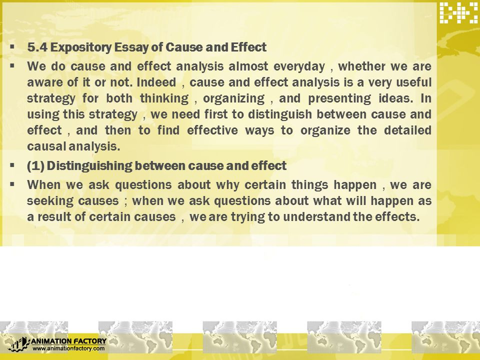Cause and effect expository essay topics