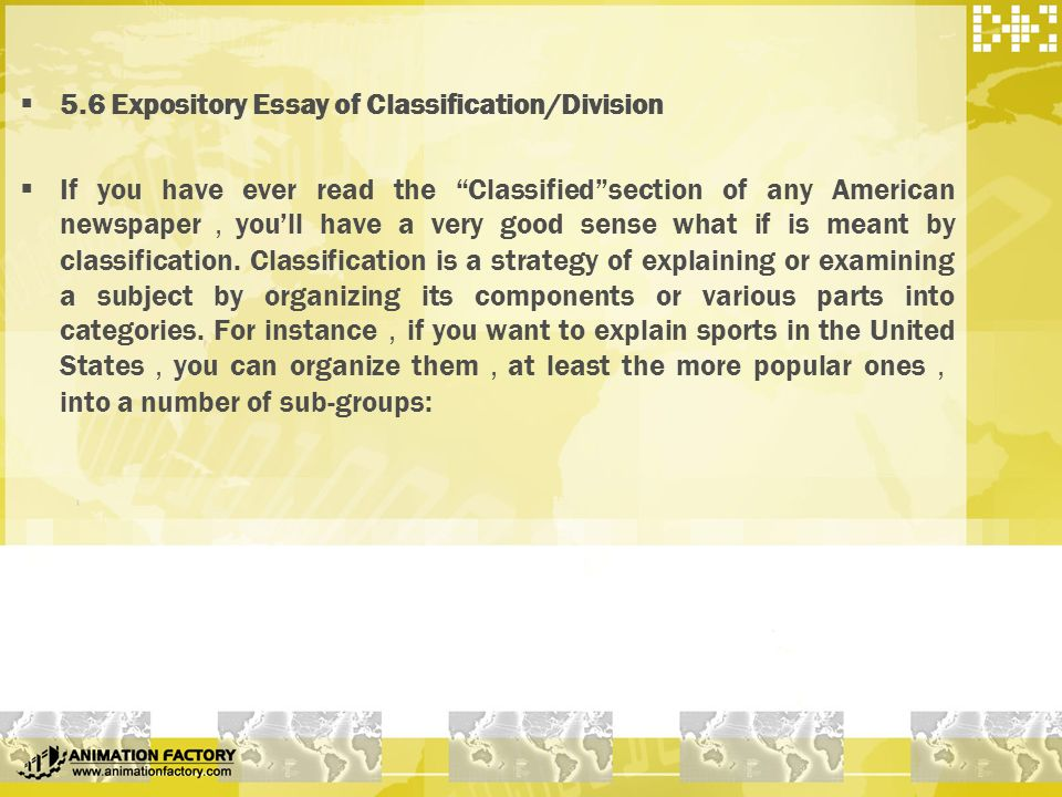 classification expository essay You don't know how to start a classification essay we have an online guide for you get classification essay ideas and learn how to write this assignment.