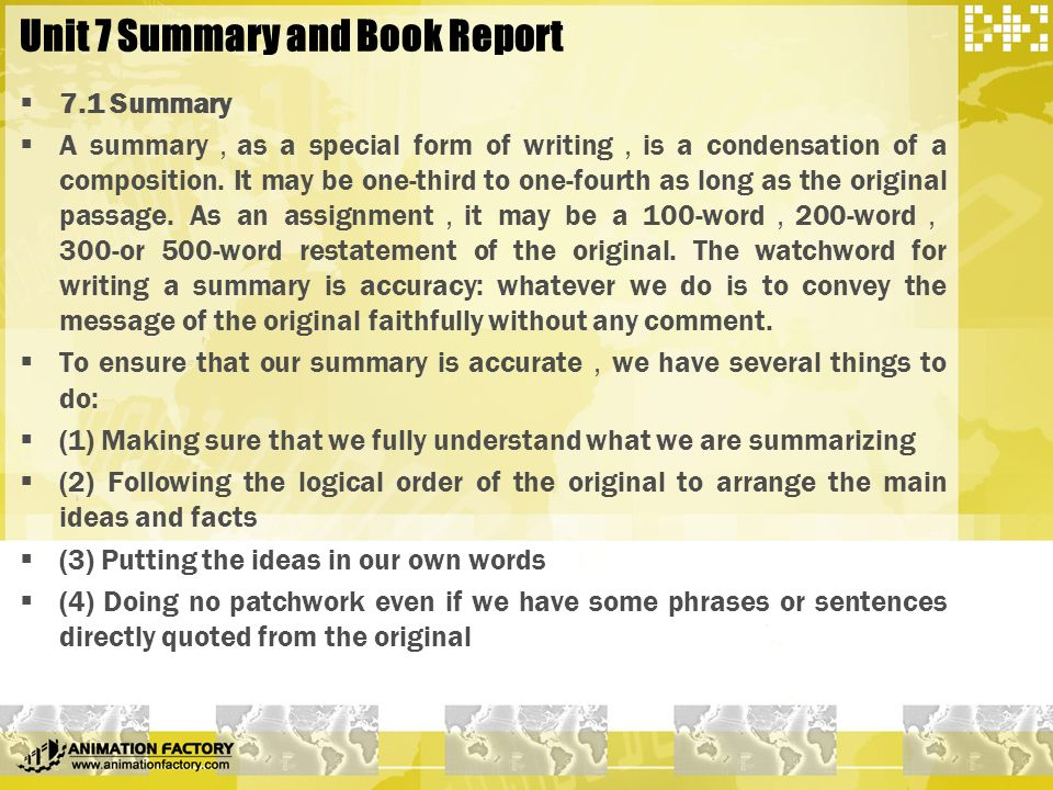 part four composition essay writing ppt unit 7 summary and book report