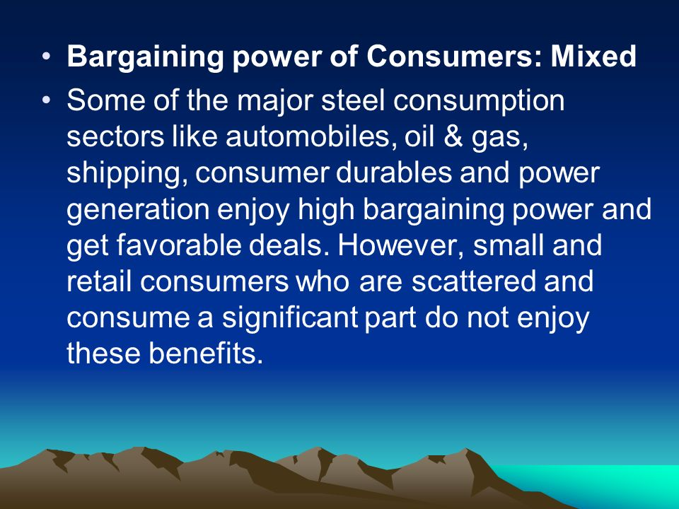 bargaining power of consumers in automobile industries in malaysia Bargaining power of suppliers: low suppliers have a little power in an automobile industry that's because numerous suppliers rely on some particular auto manufacturers to buy their products.