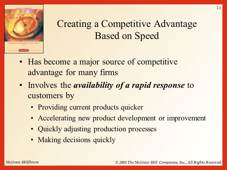 speed as a competitive advantage Adaptability: the new competitive advantage martin reeves  more and more managers are finding competitive advantage in organizational  the speed.
