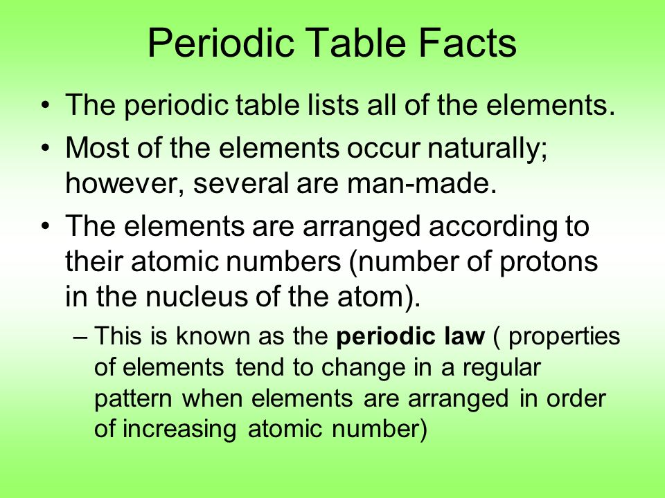 Periodic Table Facts The Periodic Table Lists All Of The Elements.