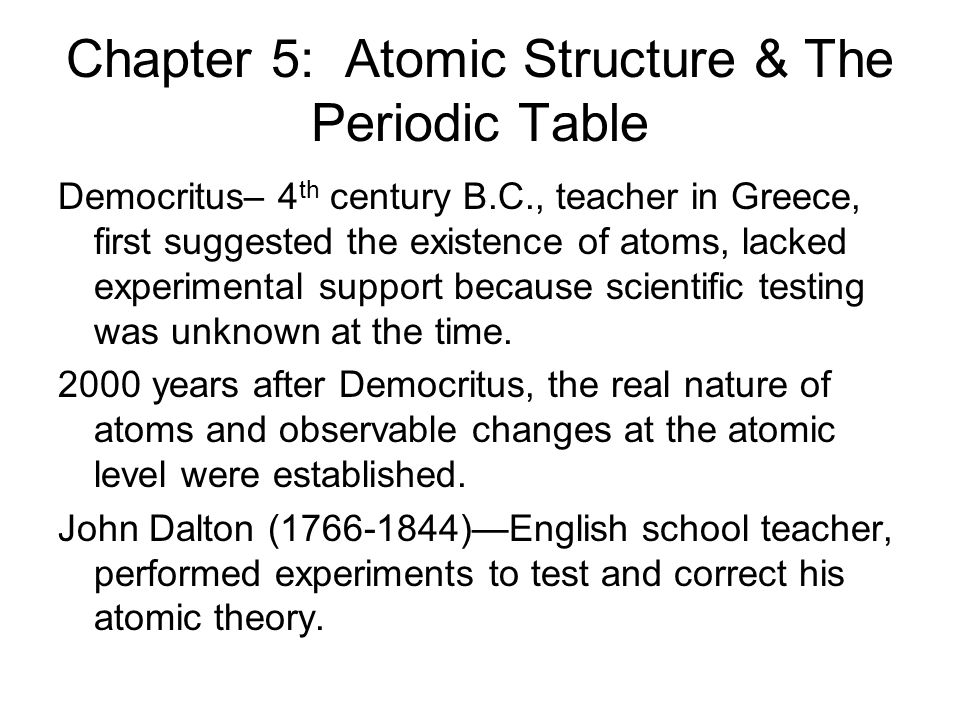 chapter 5 atomic structure the periodic table - Periodic Table Experiments