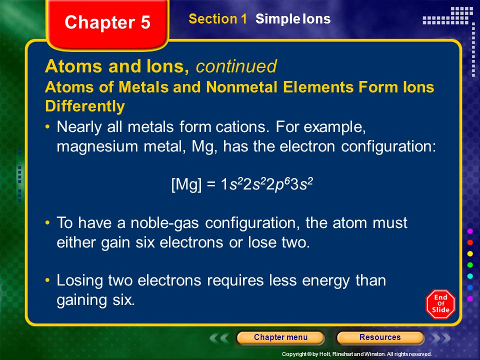 Atoms and Ions, continued