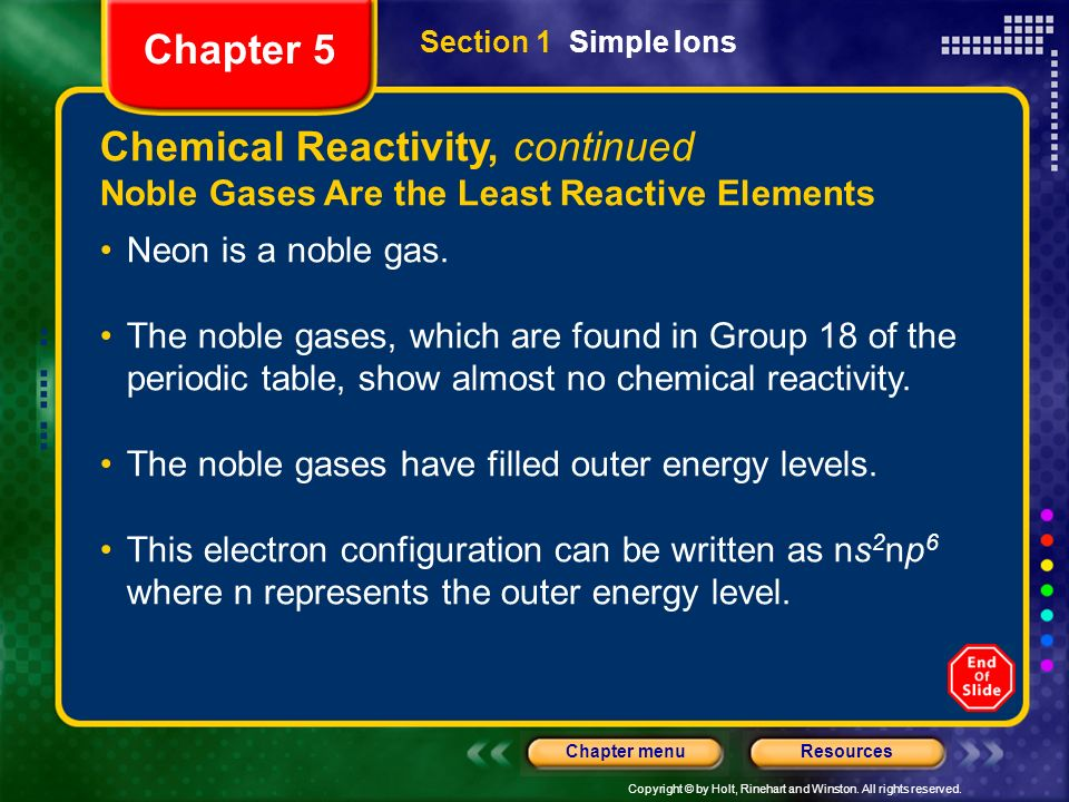Chemical Reactivity, continued