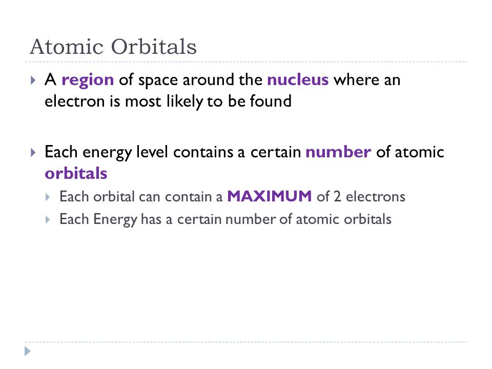 Atomic Orbitals A region of space around the nucleus where an electron is most likely to be found.