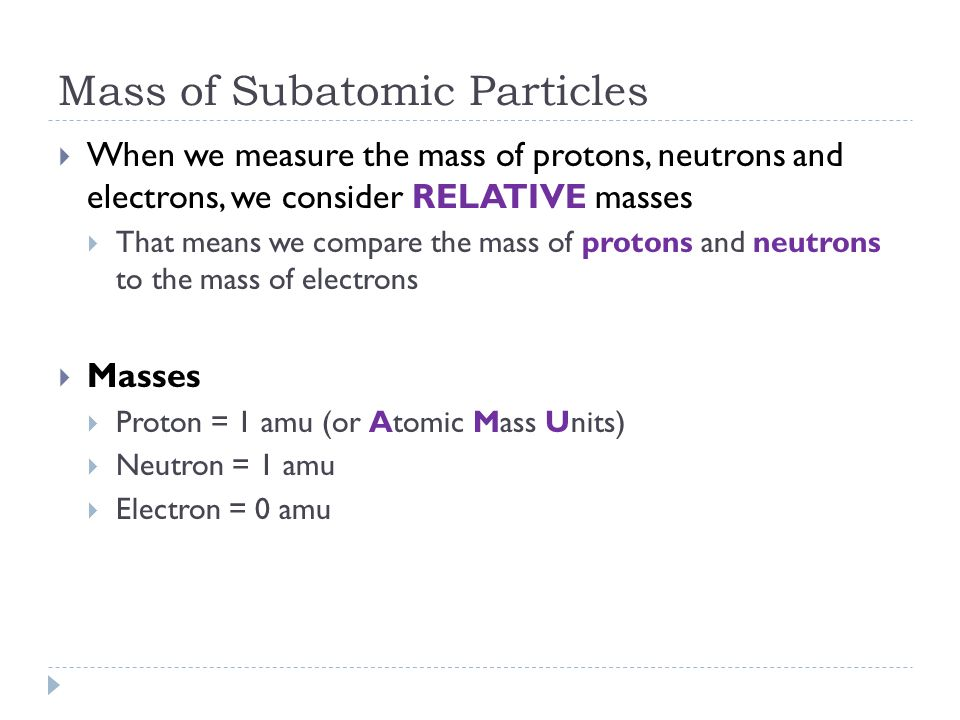 Mass of Subatomic Particles