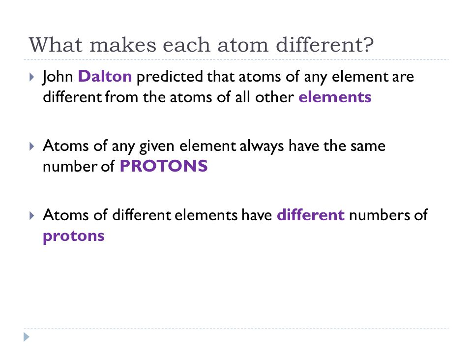 What makes each atom different
