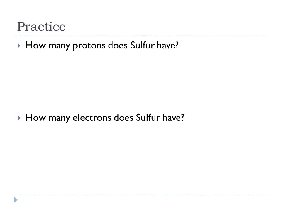 Practice How many protons does Sulfur have
