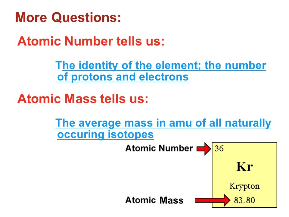 More Questions: Atomic Number tells us: Atomic Mass tells us:
