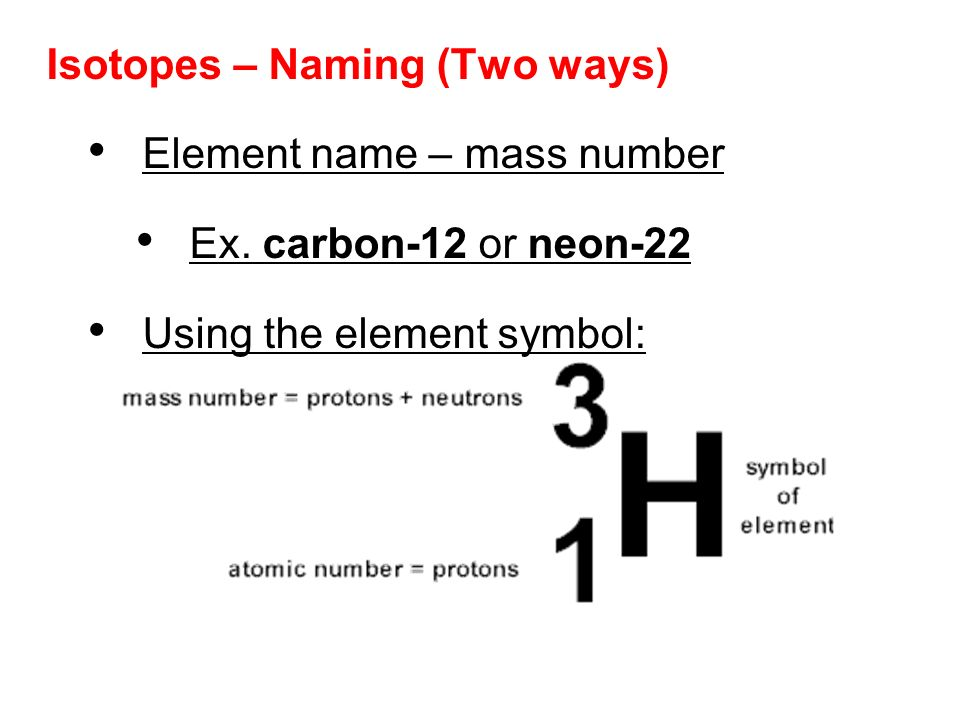 writing isotopes Isotopes of an element have the same atomic number, but a different mass  number hydrogen is the  therefore, the isotopes of hydrogen can be written as.