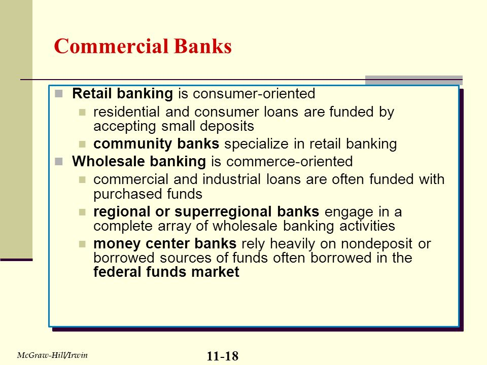 retail and wholesale banking Retail & wholesale banking done 1 1chapter 6retail and wholesale banking 2 retail banking in pre-liberalisation era, banks mainly focused onproviding credit to industries and business houses with the liberalisation of indian economy, bank sawa emerging opportunities in terms of youngpopulation, increased incomes, purchasing powerand aspiration for better life style, quality productsand.