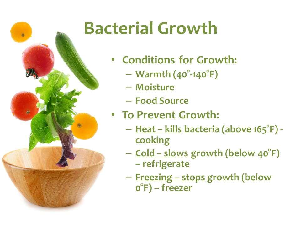 Bacterial Growth Conditions for Growth: To Prevent Growth: