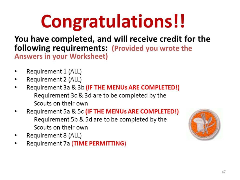 Cooking merit badge worksheet answers 2013
