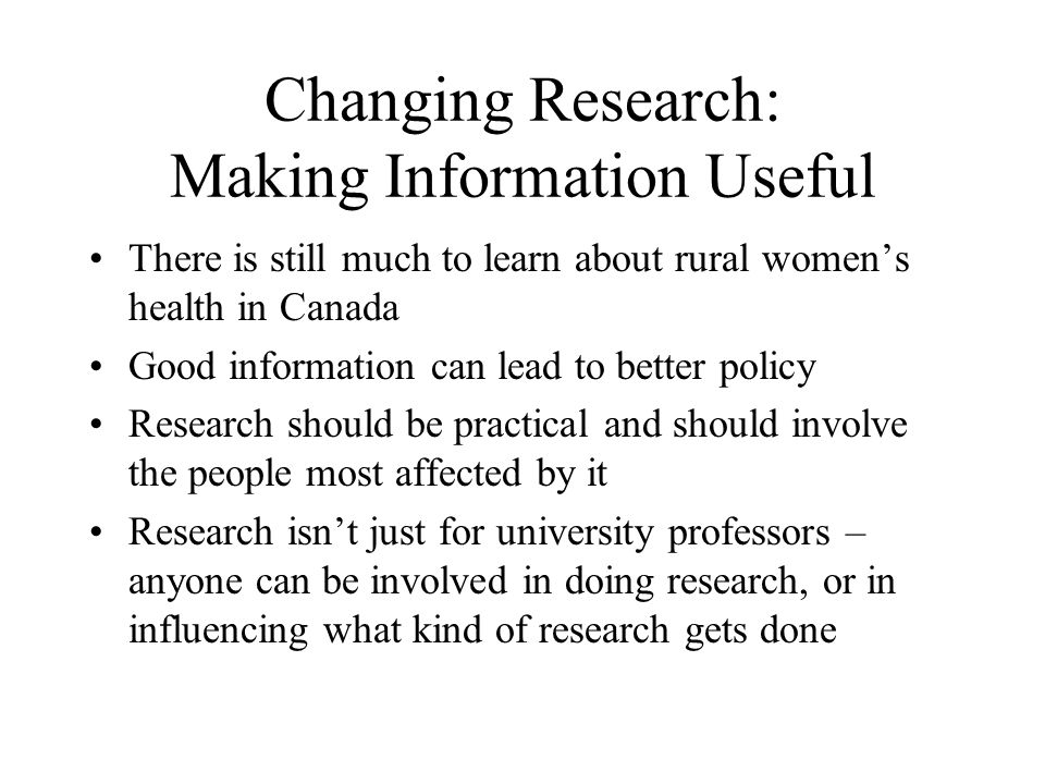 Changing Research: Making Information Useful