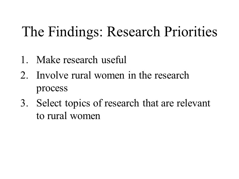 The Findings: Research Priorities
