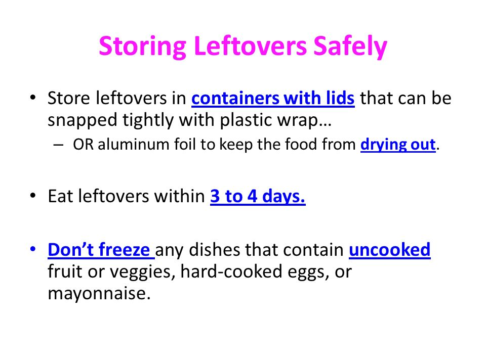 Storing Leftovers Safely