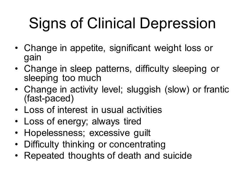 Signs of Clinical Depression