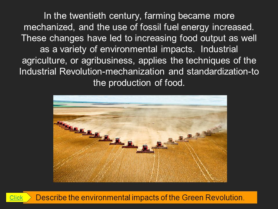 Describe the environmental impacts of the Green Revolution.