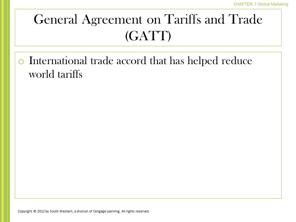 general agreement on tariffs and trade essay This chapter introduces the general and security exceptions in articles xx and xxi of the general agreement on tariffs and trade 1994 ('gatt 1994') and article.