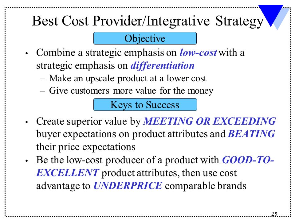differentiation vs low cost provider Learning objectives describe the nature of focused cost leadership and focused differentiation know the advantages and disadvantages of focus strategies.
