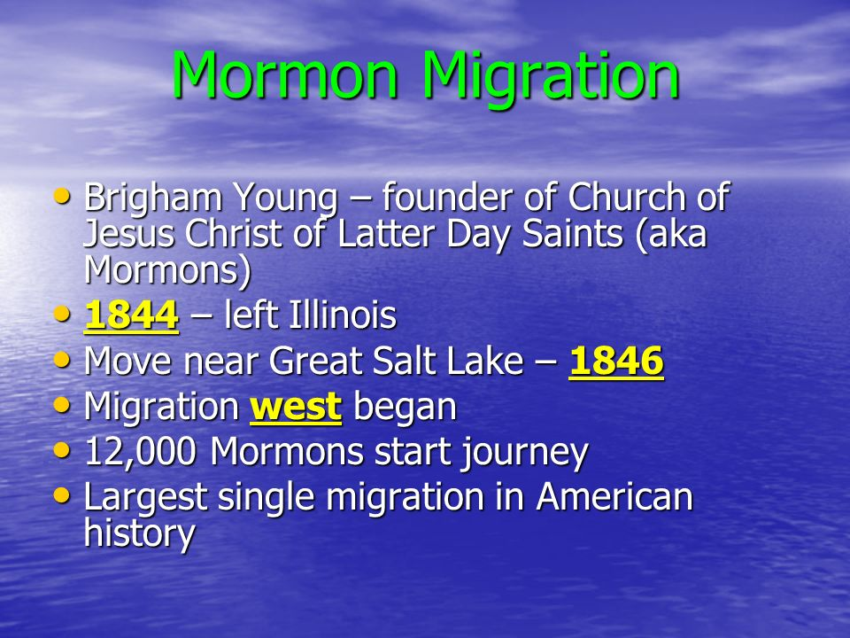 mormon migration Mormon migration in the usa during the 1830s the migrations was an international forced migration and it was intraregional this type of migration is international migration, its intraregional and forced migration, because many push them to different states due to the fact the they didn't agree with the beliefs of mormons.
