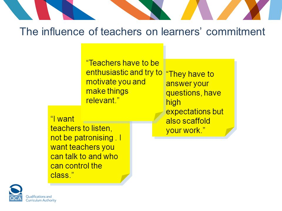 the influence of teachers and learners Different teaching styles and how they affect your students  no two teachers will teach in the same way, just as no two students learn something in the same way.