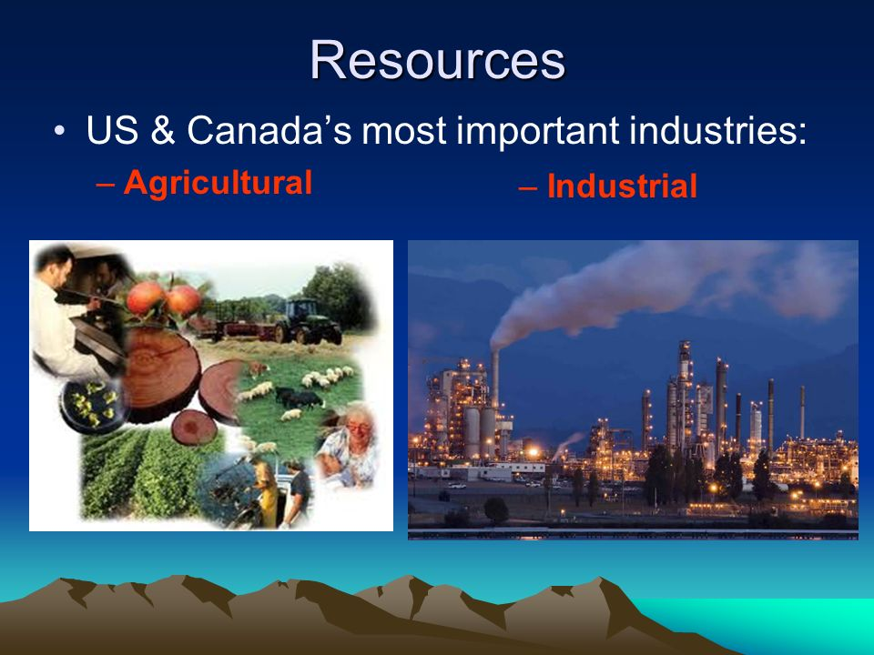 Resources US & Canada's most important industries: Agricultural