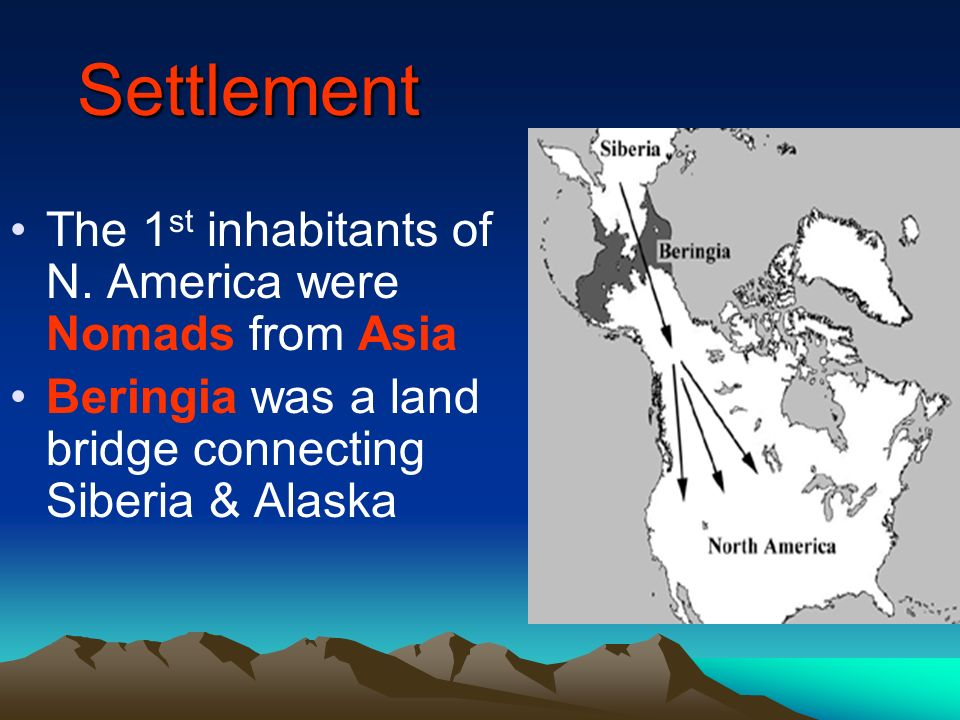 Settlement The 1st inhabitants of N. America were Nomads from Asia
