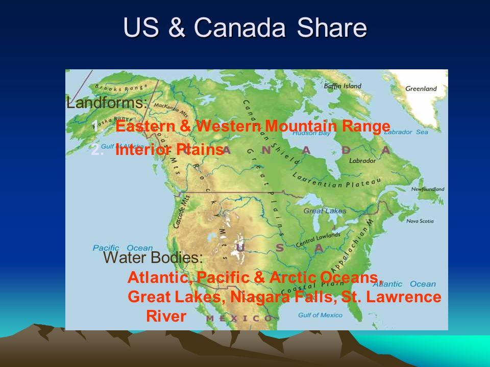 US & Canada Share Landforms: Eastern & Western Mountain Range