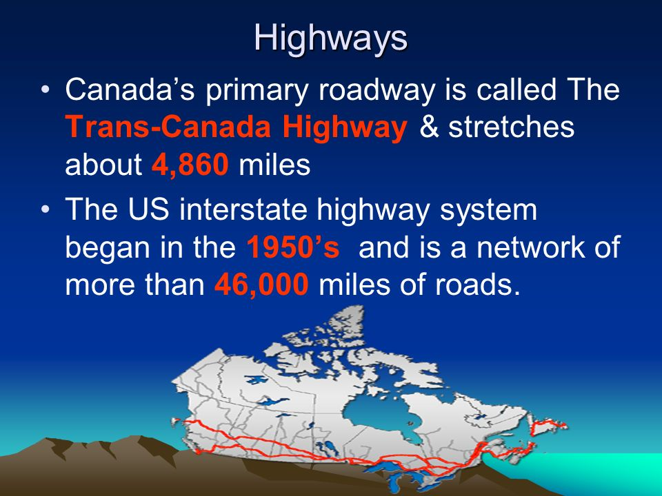 Highways Canada's primary roadway is called The Trans-Canada Highway & stretches about 4,860 miles.