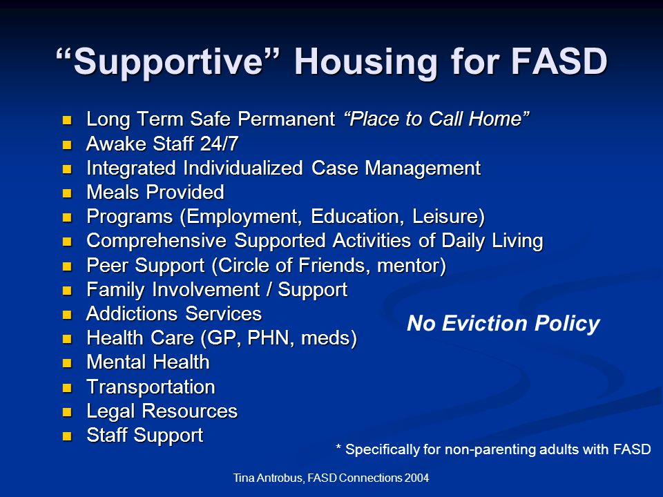 Supportive Housing for FASD