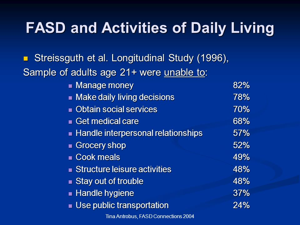 FASD and Activities of Daily Living