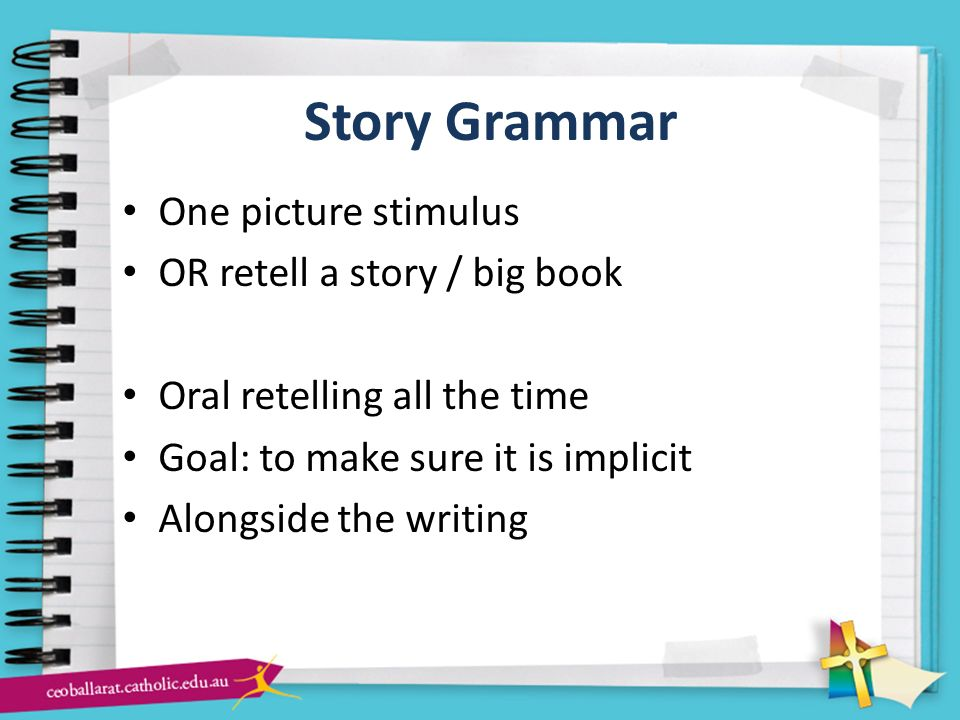 Story Grammar One picture stimulus OR retell a story / big book