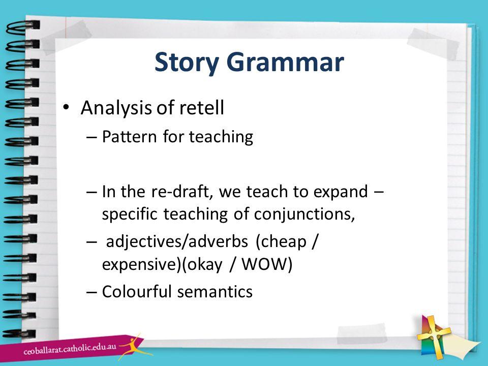 Story Grammar Analysis of retell Pattern for teaching