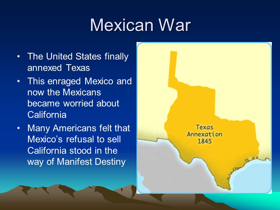a discussion on the war between the united states and mexico and the manifest destiny Essay: the mexican war the united states in 1846 was not justified in going to war with mexico the united states did not have proper justification to respond with violence against the mexican government the war with mexico was also a product of the united states' belief of manifest destiny.