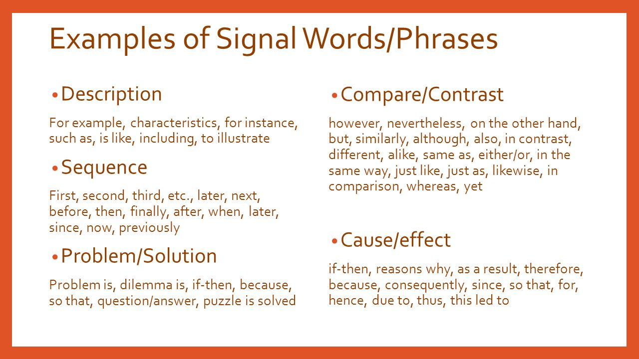 what are signal words for cause and effect