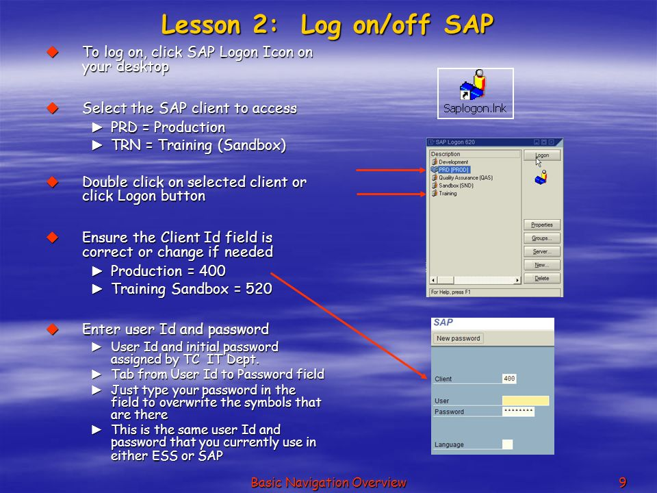 user manual basic sap navigation Sap navigation training locate and describe the basic functions of the sap r/3 screen elements send a message to another sap user.